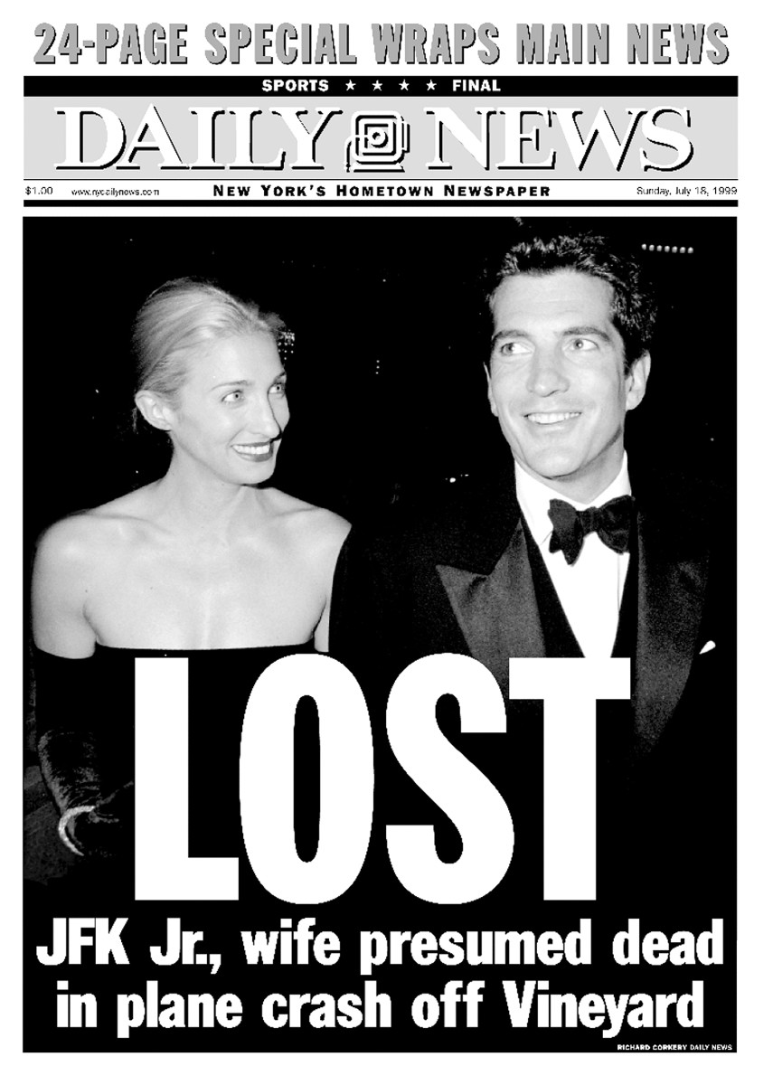 The cover of the 'New York Daily News' featuring John F. Kennedy Jr. and Carolyn Bessette after their plane crashed on July 16, 1999