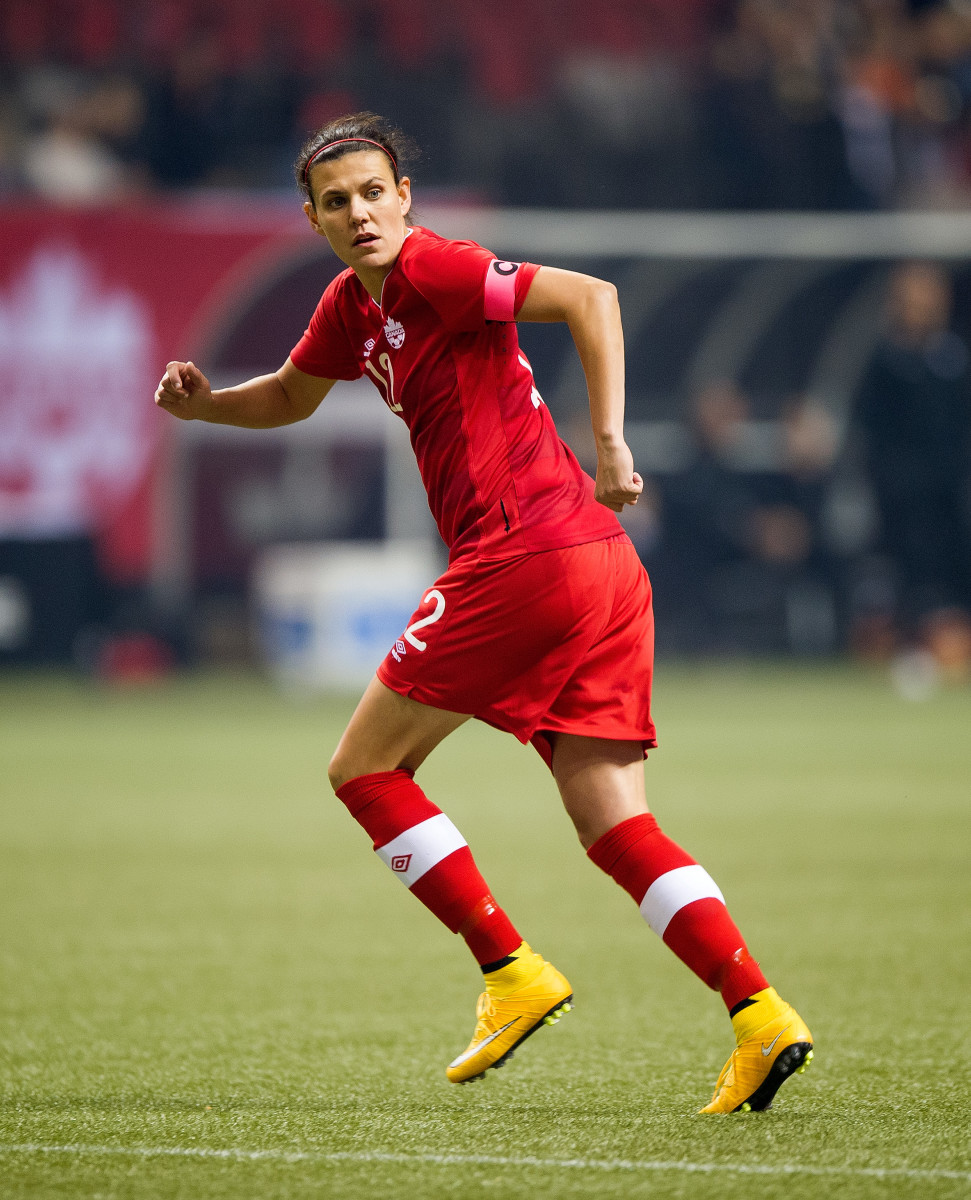 Christine Sinclair runs during Women's International Soccer Friendly Series action against Japan on October 28, 2014 at BC Place Stadium in Vancouver, British Columbia, Canada