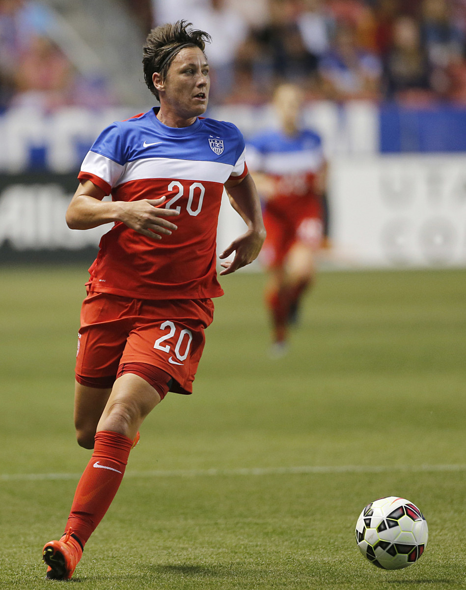 Abby Wambach moves the ball downfield during a game against Mexico during the first half of an international soccer game on September 13, 2014, at Rio Tinto Stadium in Sandy, Utah.