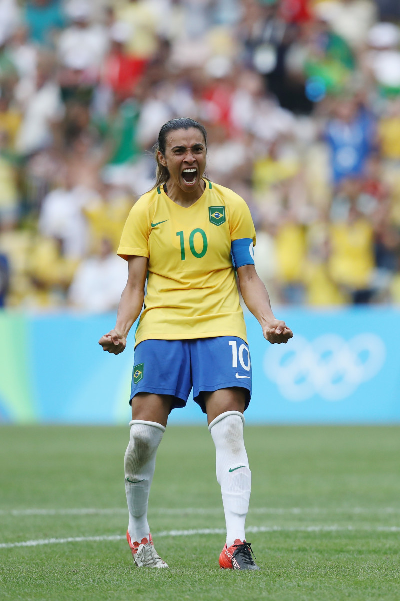Marta celebrates a penalty during the Women's Football semifinal between Brazil and Sweden on day 11 of the Rio 2016 Olympic Games at Maracana Stadium in Rio de Janeiro, Brazil on August 16, 2016.