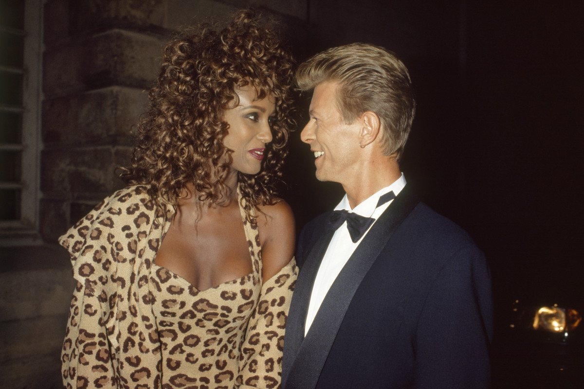 Iman and husband David Bowie at a Paris gala