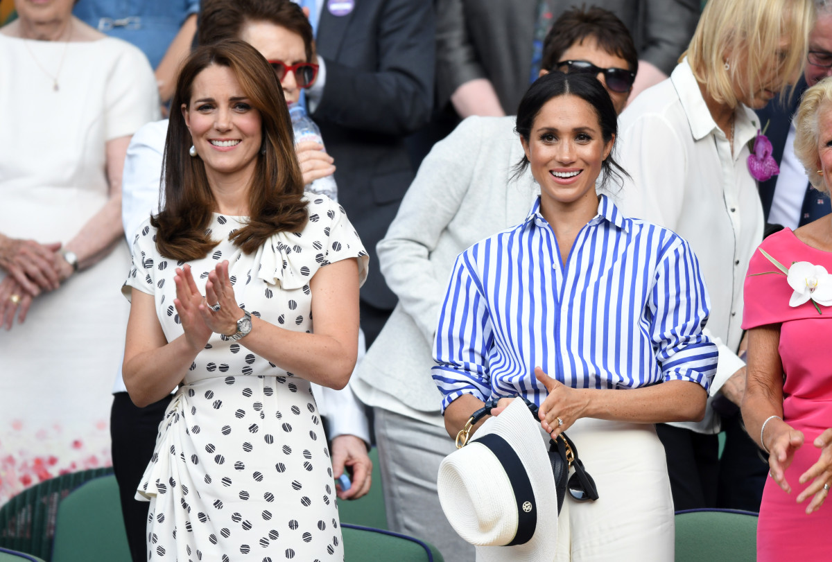 Kate Middleton and Meghan Markel at Wimbledon in 2018
