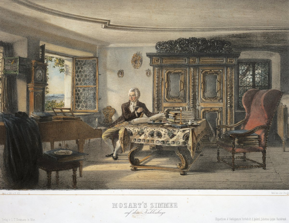 Wolfgang Amadeus Mozart in his study in Kahlenberg near Vienna