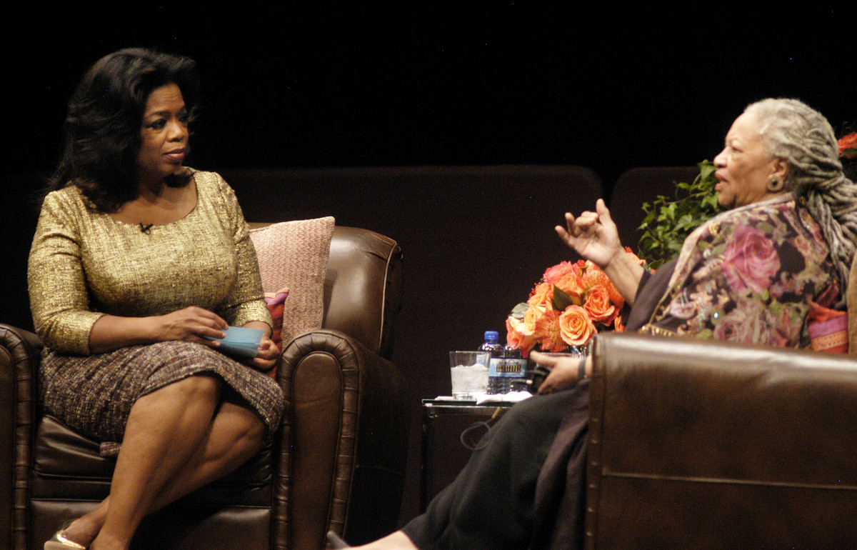 Oprah Winfrey and Toni Morrison attend the Carl Sandburg literary awards dinner at the University of Illinois at Chicago Forum on October 20, 2010 in Chicago, Illinois