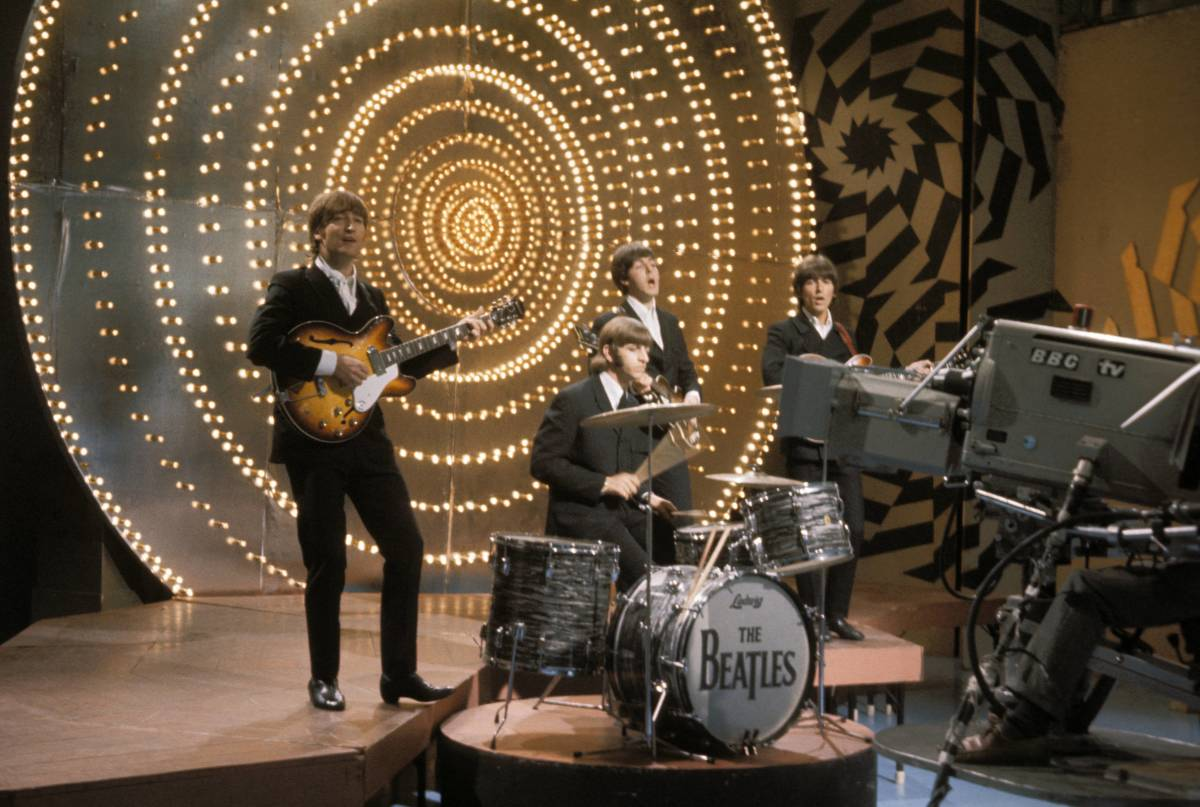 The Beatles performing on Top of the Pops in 1966