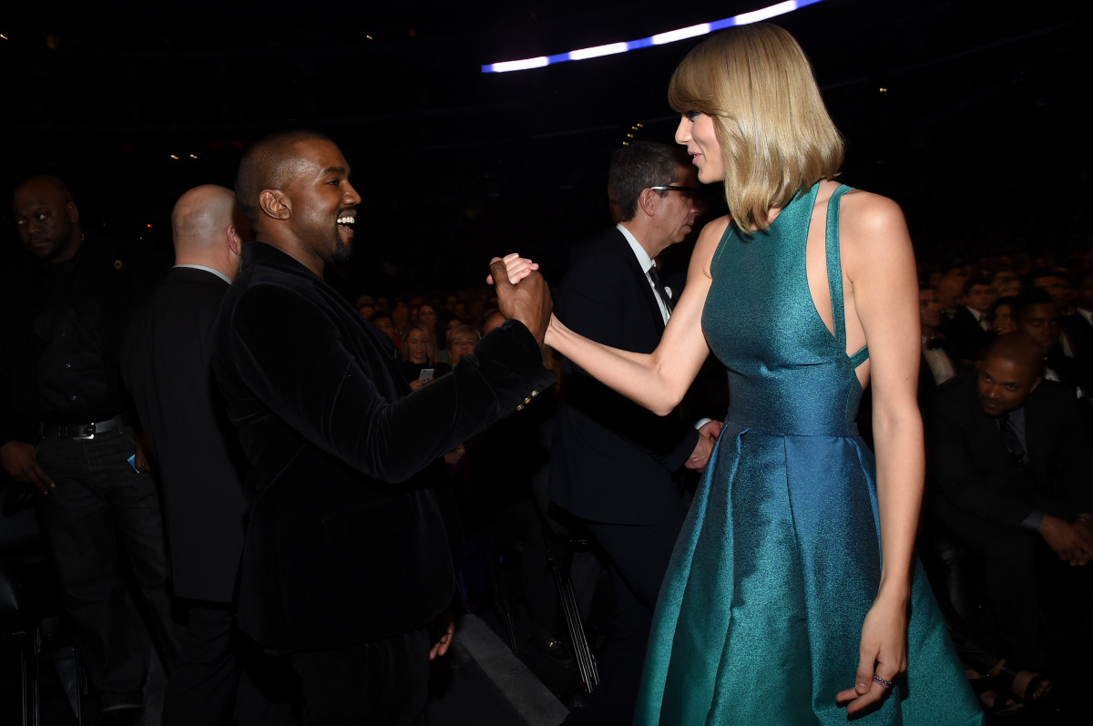 Kanye West and Taylor Swift attend the 57th Annual Grammy Awards at the on February 8, 2015 in Los Angeles, California