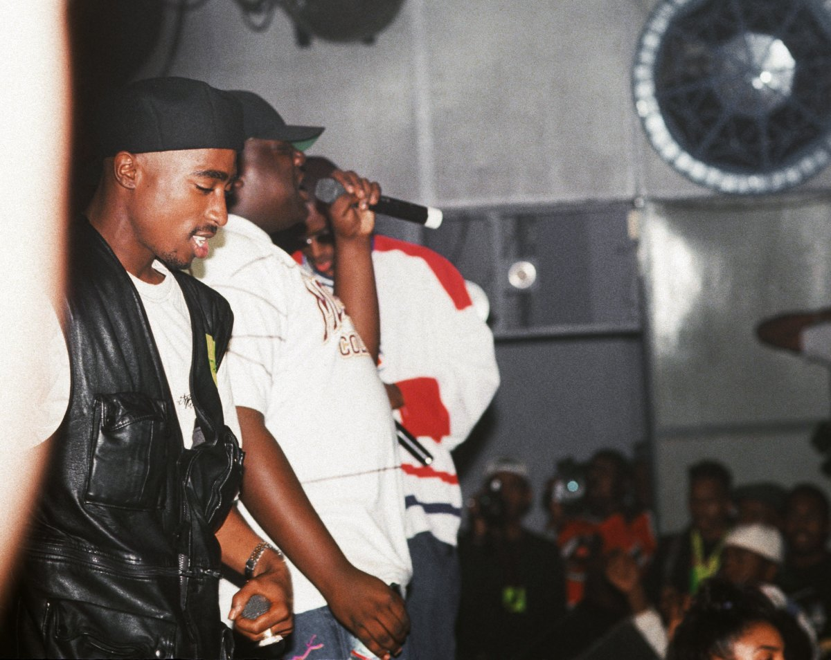 Tupac Shakur, Biggie Smalls and Puff Daddy perform onstage at the Palladium on July 23, 1993, in New York City