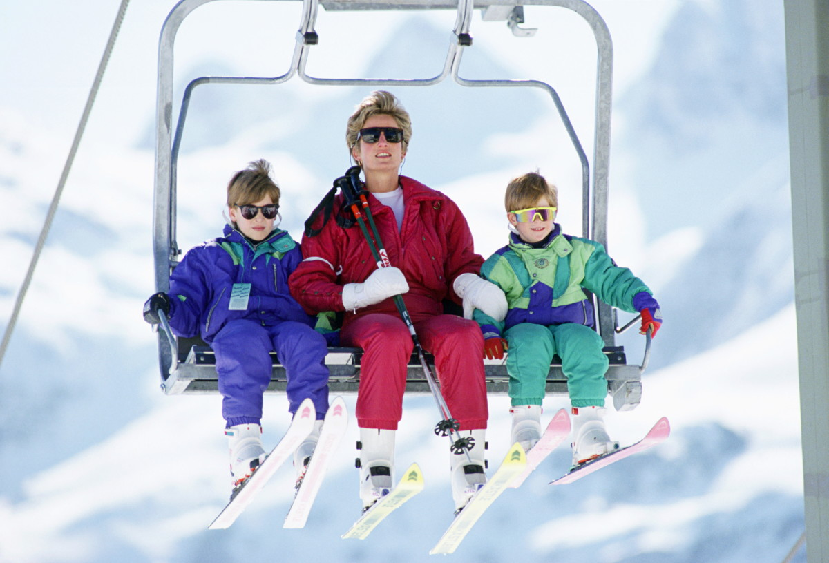 Princess Diana, Prince William and Prince Harry during a ski holiday in Lech, Austria