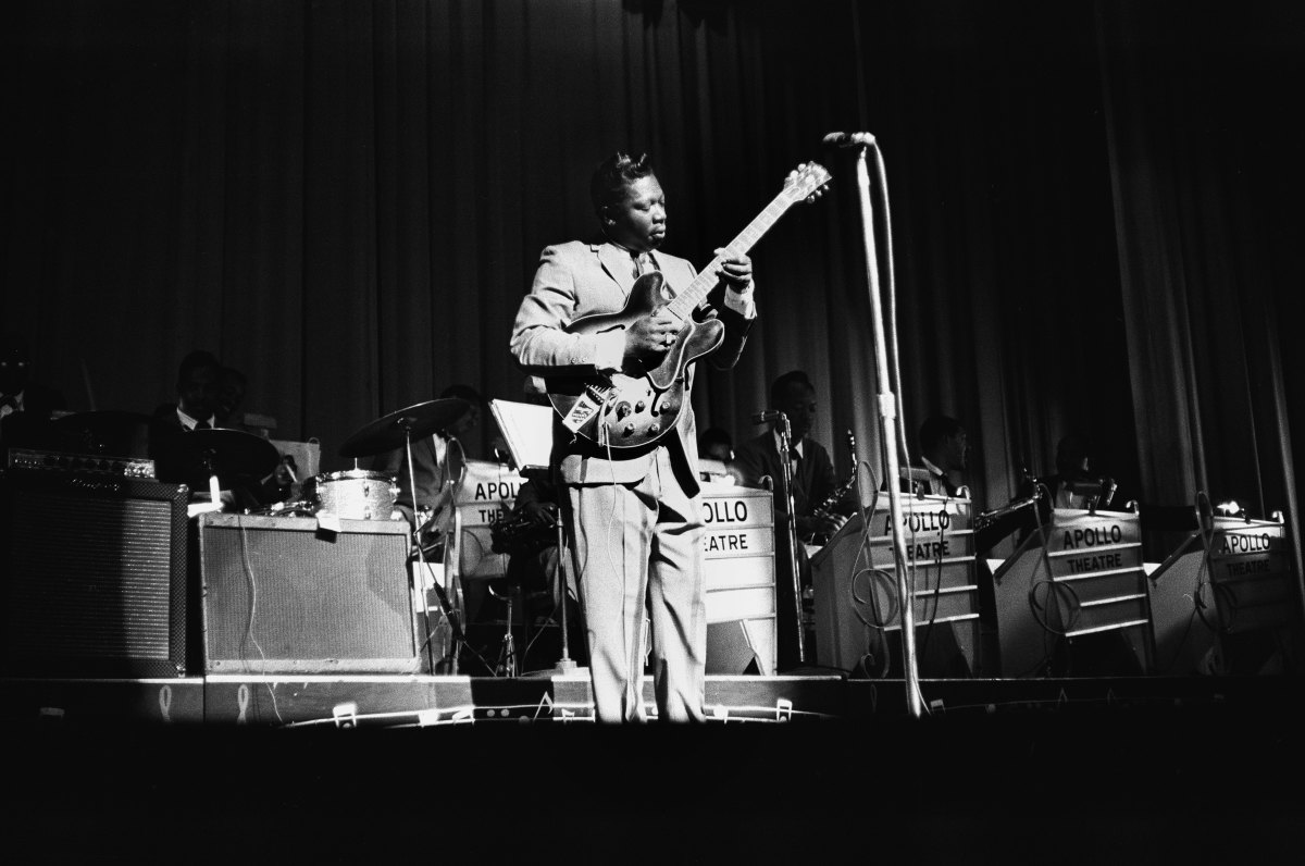 B.B. King performing with Lucille at the Apollo Theater in Harlem, New York