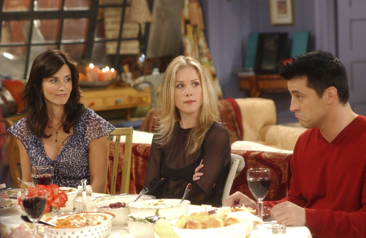 Courteney Cox as Monica Geller-Bing, Christina Applegate as Amy Green, Matt LeBlanc as Joey Tribbiani