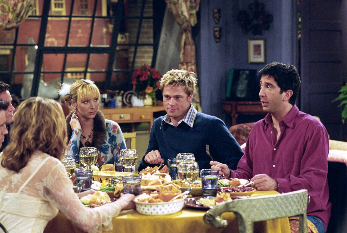 Jennifer Aniston as Rachel Green, Lisa Kudrow as Phoebe Buffay, Brad Pitt as Will Colbert, David Schwimmer as Ross Geller