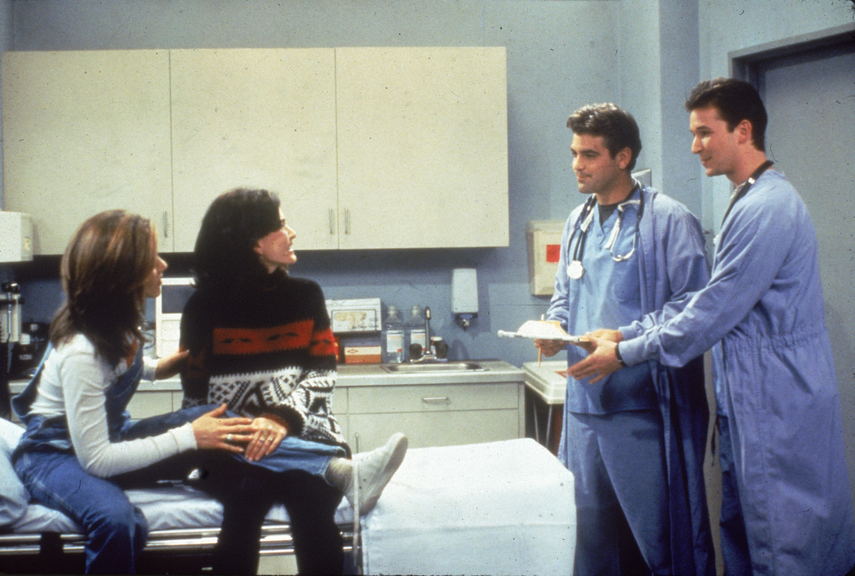 Jennifer Aniston as Rachel Green, Courteney Cox as Monica Gellar, George Clooney as Dr. Mitchell and Noah Wyle as Dr. Rosen