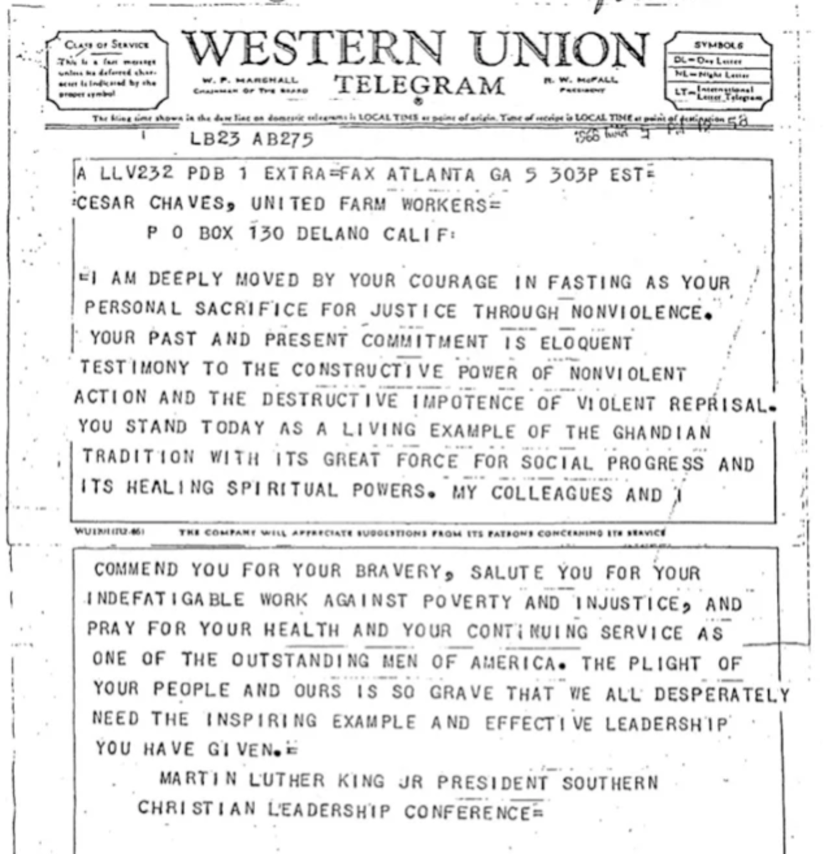 A telegram Martin Luther King Jr. sent Cesar Chavez