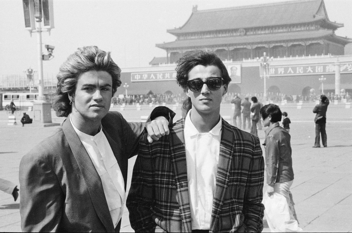 George Michael and Andrew Ridgeley in front of The Forbidden Palace in Tiananmen Square