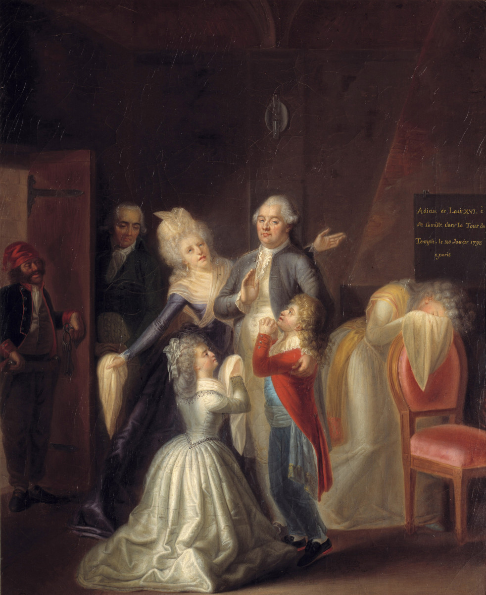 Farewells of Louis XVI to his family on January 20, 1793 at the Temple. Painting by Jean Jacques Hauer