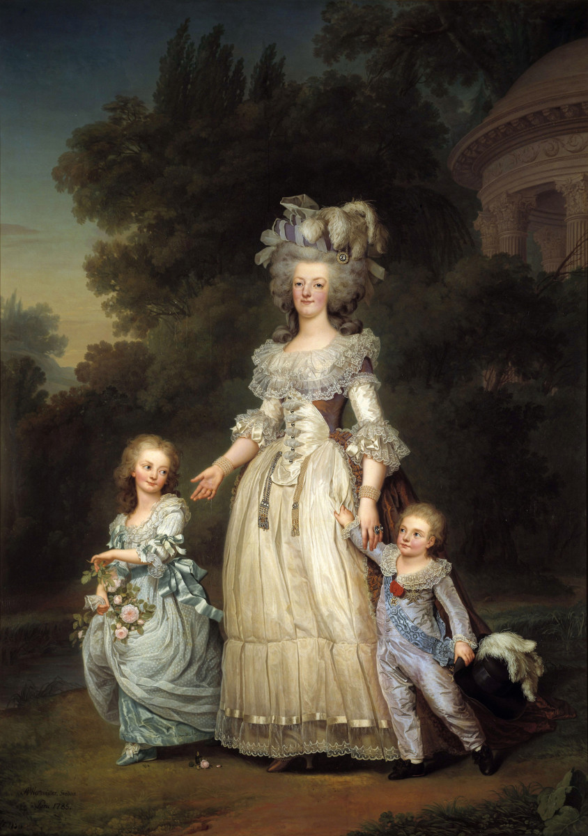 Marie-Therese and Louis Joseph on a walk in the Trianon gardens with their mother, Marie Antoinette.