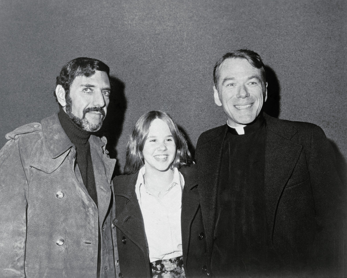 William Peter Blatty, Linda Blair and Rev. William O'Malley, S.J. at the opening of the new Warner Bros. motion picture at Cinema I in New York.