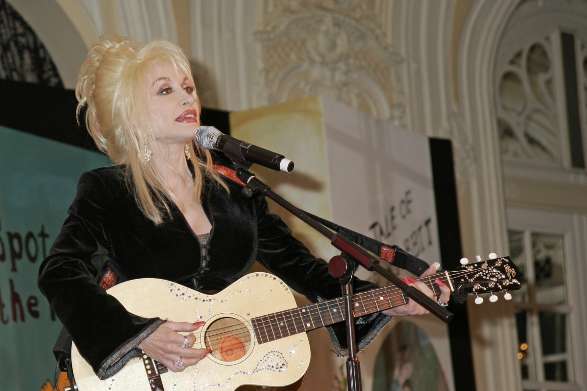 Dolly Parton performing live onstage at launch for 'Imagination Library' literacy project