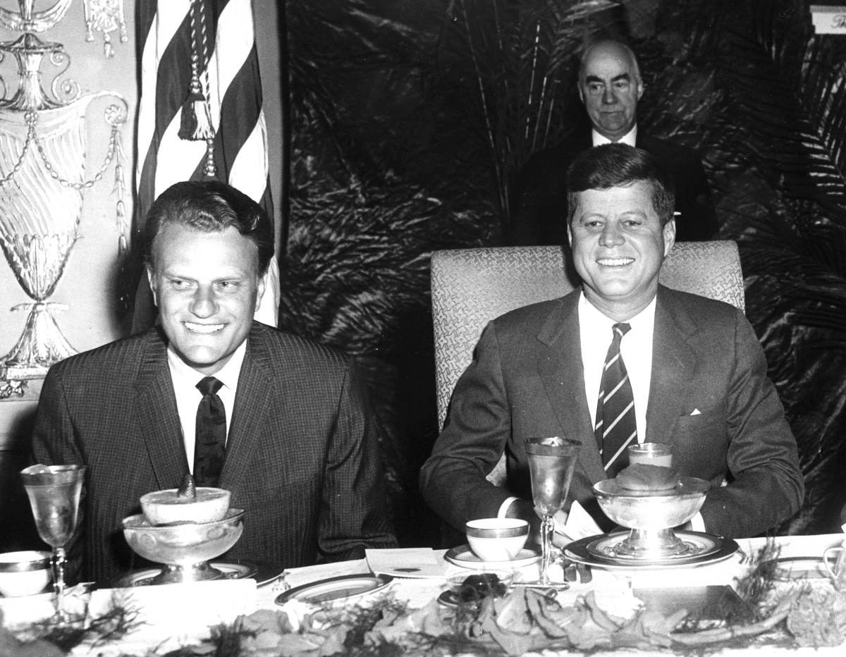 Billy Graham and John F. Kennedy at the National Prayer Breakfast in Washington D.C. in February 1961.