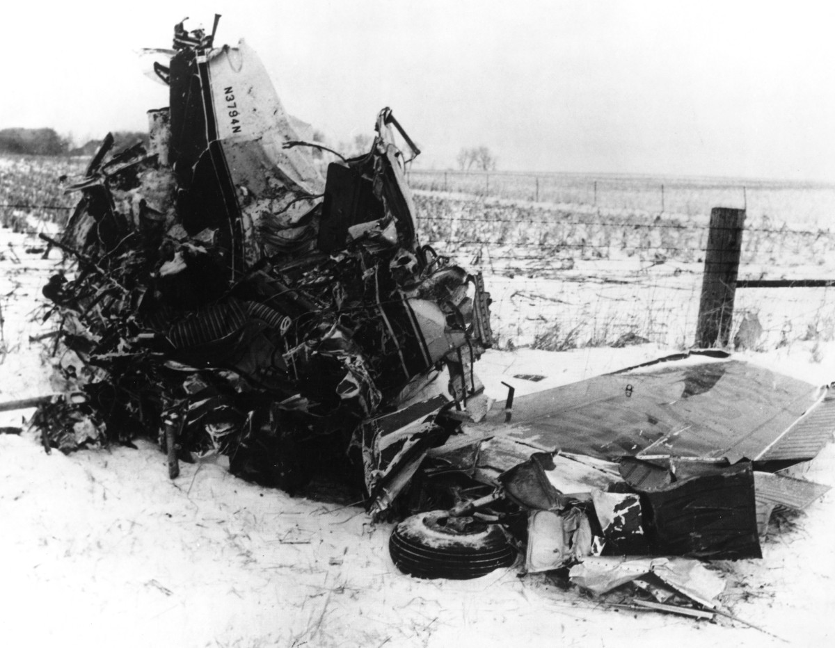 The wreckage of the plane crash that killed rock stars Buddy Holly, Ritchie Valens and The Big Bopper on February 3, 1959, outside of Clear Lake, Iowa.