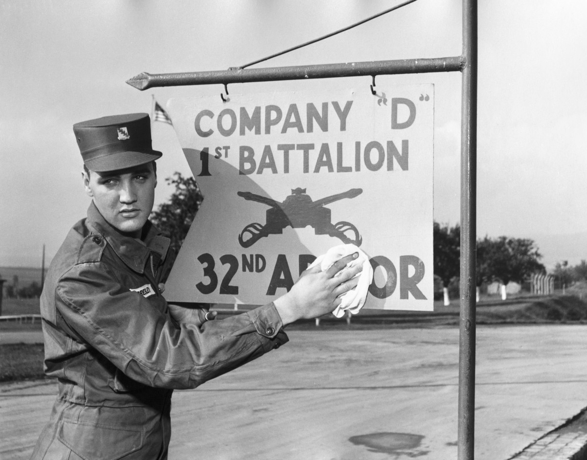 Elvis Presley during his military service at a US base in Germany