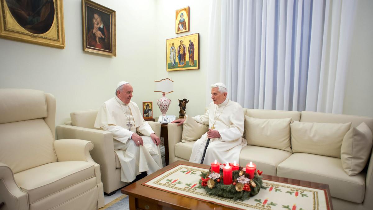 Pope Francis and Pope Benedict exchange Christmas greetings, in the Mater Ecclesiae monastery, Benedict's residence on December 23, 2013 in Vatican City