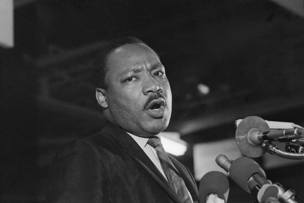 """Martin Luther King during his """"I've Been to the Mountaintop"""" speech"""