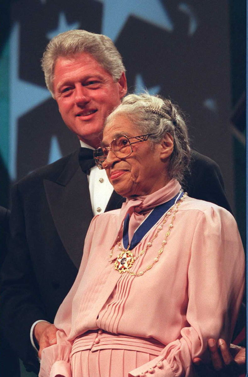 Bill Clinton with Rosa Parks during the Congressional Black Caucus dinner on September 15, 1996, in Washington, D.C.