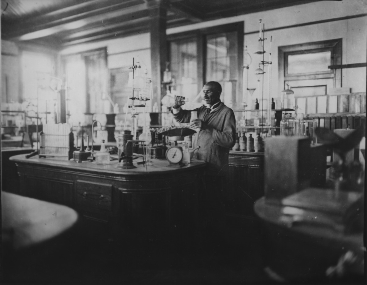 George Washington Carver working in a laboratory, 1910s