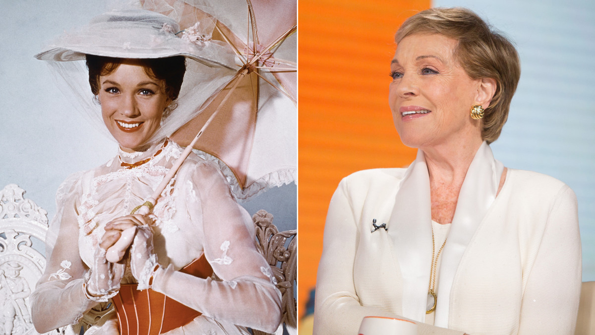 Julie Andrews as Mary Poppins and Julie Andrews in 2017