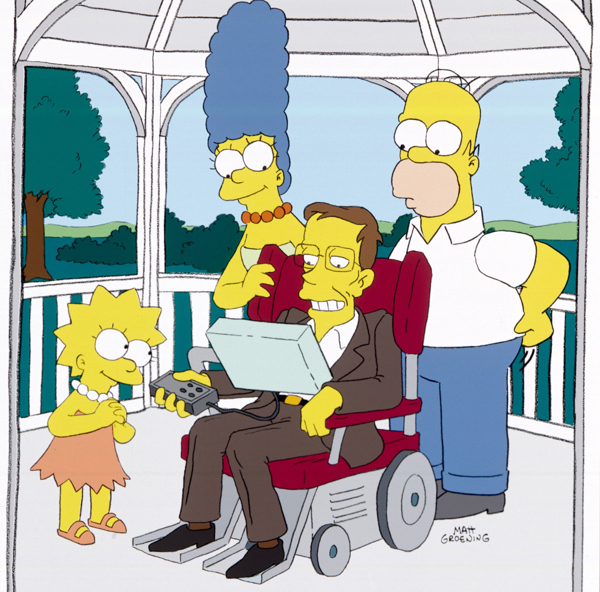 Lisa, Marge, Stephen Hawking and Homer on the right.They Saved Lisa's Brain episode of THE SIMPSONS on FOX.