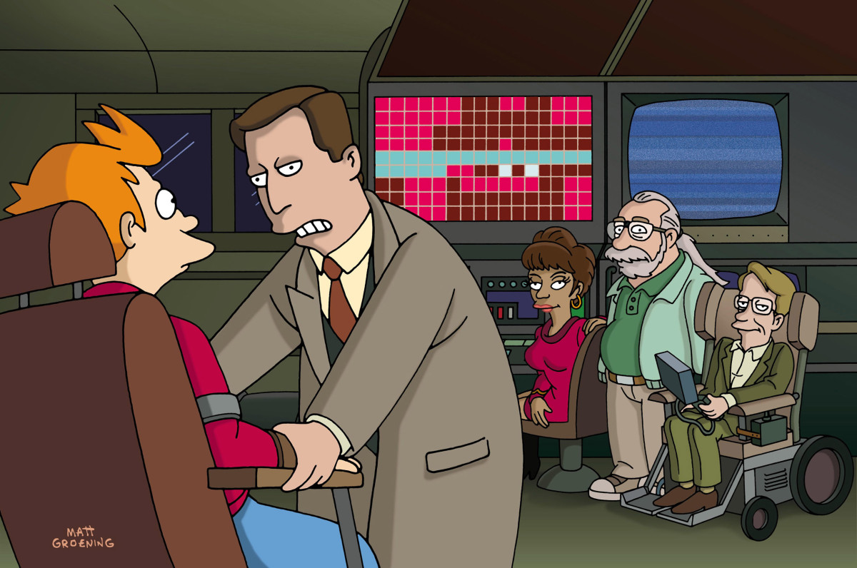 Fry, (and as themselves), Al Gore, Nichelle Nichols, Stephen Hawking, Gary Gygax on Futurama