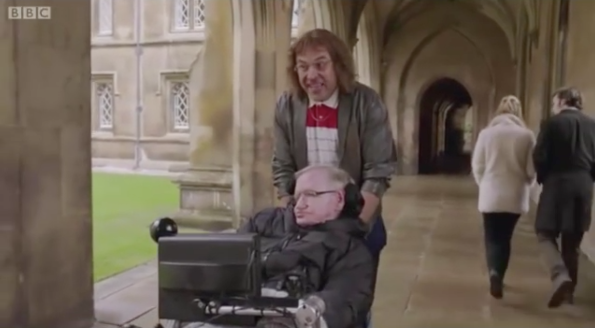 David Walliams and Stephen Hawking in a sketch for Red Nose Day