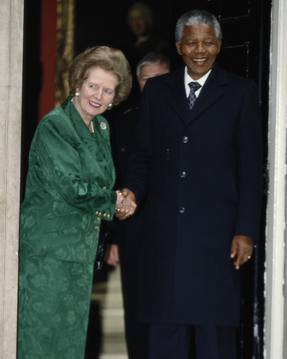 British Prime Minister Margaret Thatcher with African National Congress leader Nelson Mandela in London on July 4, 1990