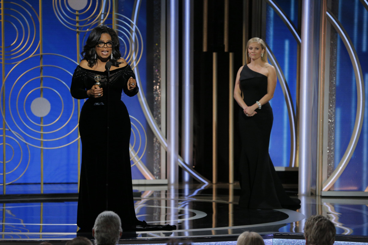 Oprah Winfrey accepts the 2018 Cecil B. DeMille Award during the 75th Annual Golden Globe Awards at The Beverly Hilton Hotel on January 7, 2018 in Beverly Hills, California