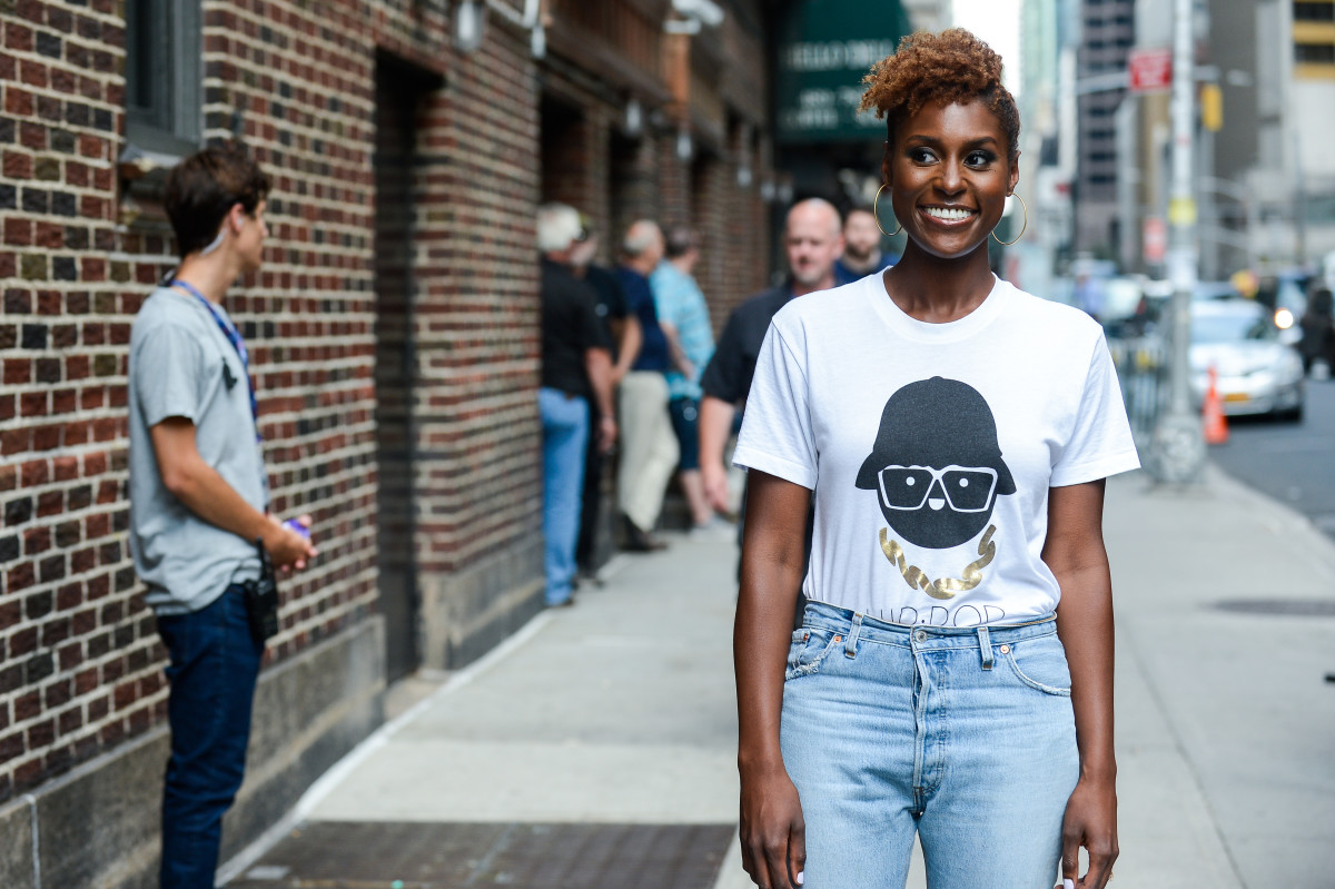Issa Rae enters the 'The Late Show With Stephen Colbert' taping at the Ed Sullivan Theater on July 17, 2017 in New York City