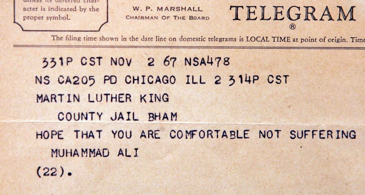 A telegram to a jailed Dr. Martin Luther King Jr. from Muhammad Ali