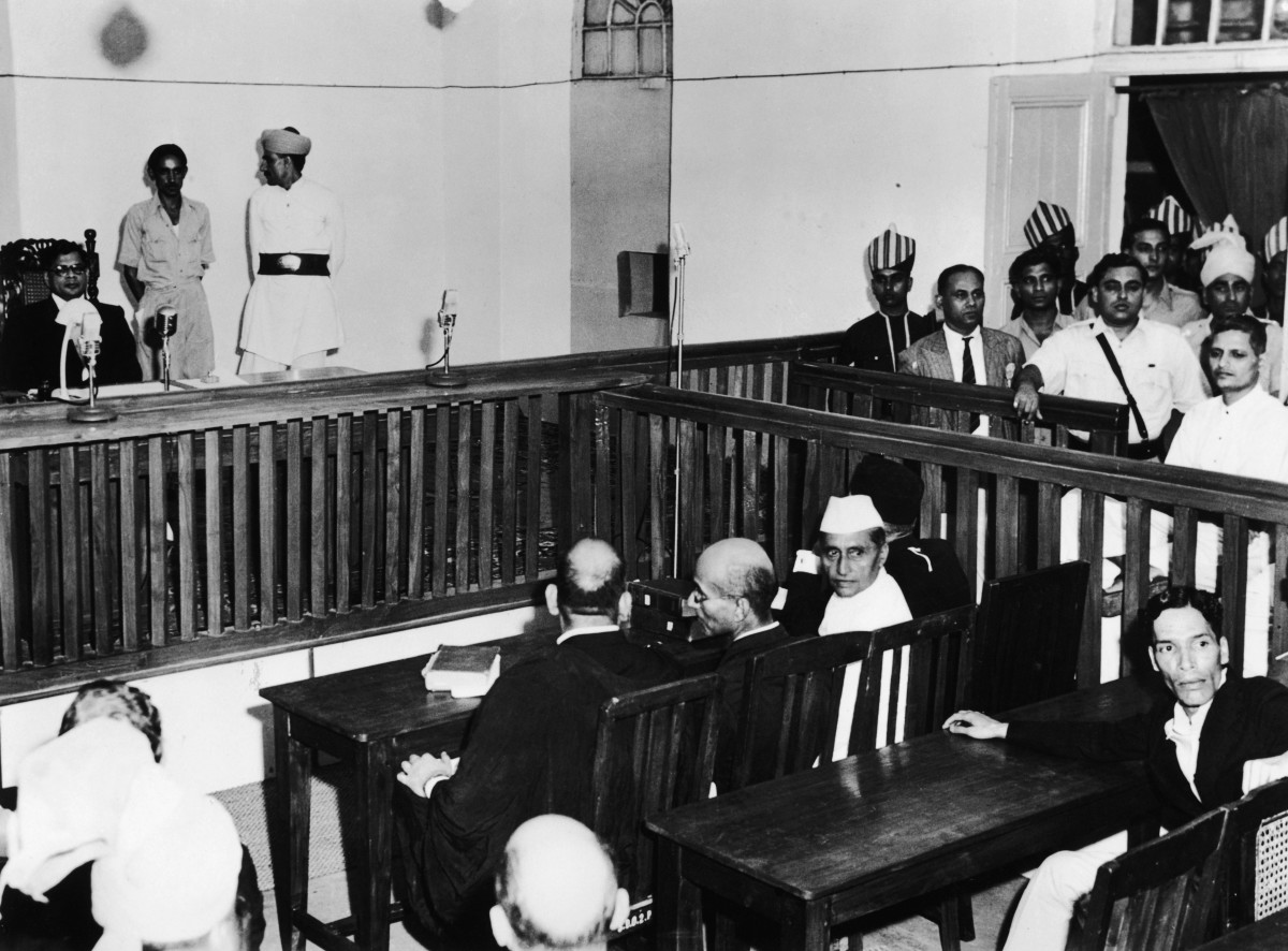 Nathuram Vinayak Godse on trial for the assassination of Mahatma Gandhi