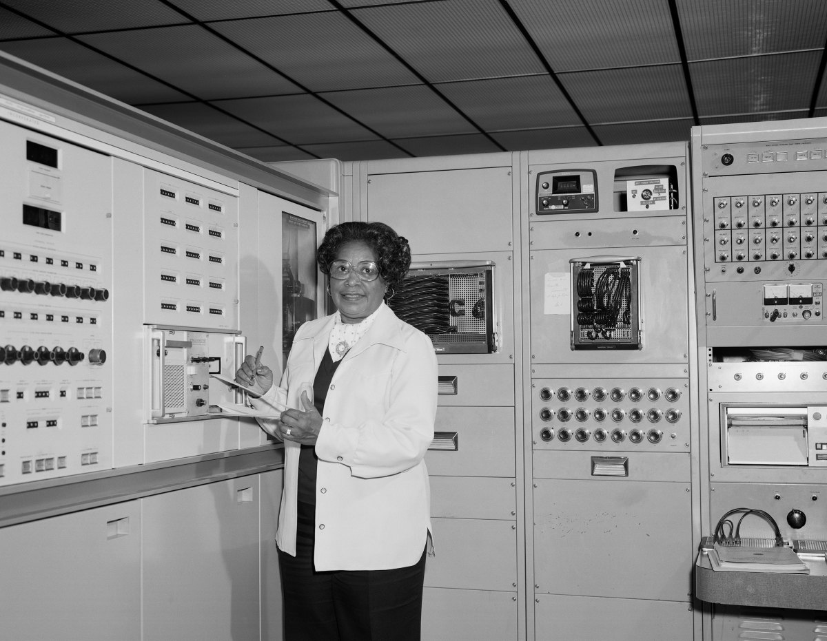 Mary Jackson, the first black woman engineer at NASA poses for a photo at work at NASA Langley Research Center in 1977 in Hampton, Virginia