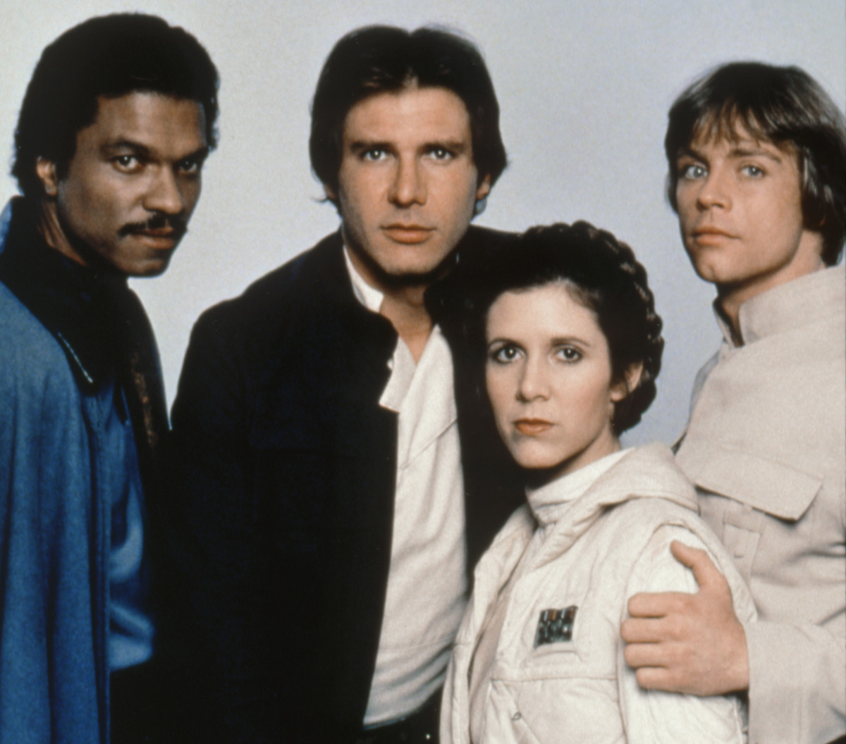 Billy Dee Williams, Harrison Ford, Carrie Fisher and Mark Hamill on the set of Star Wars Episode V - The Empire Strikes Back