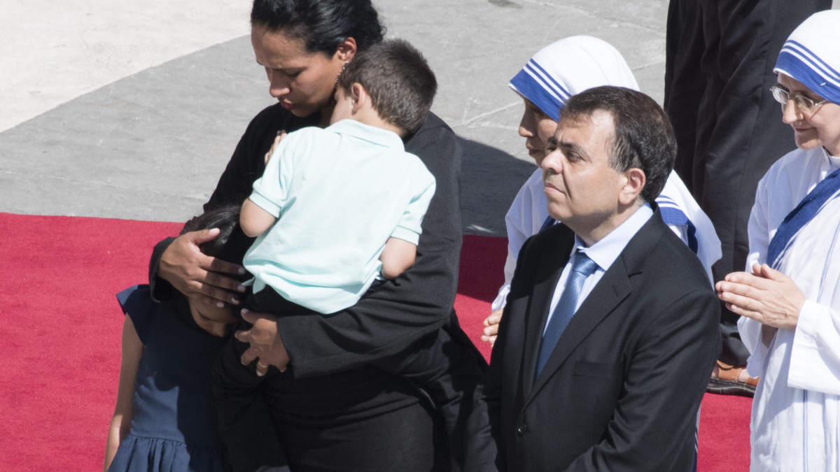 Marcilio Andrino and his wife Fernanda Nascimento Rocha attend a Canonization Mass for Mother Teresa by Pope Francis, on September 4, 2016, in Vatican City, Vatican.