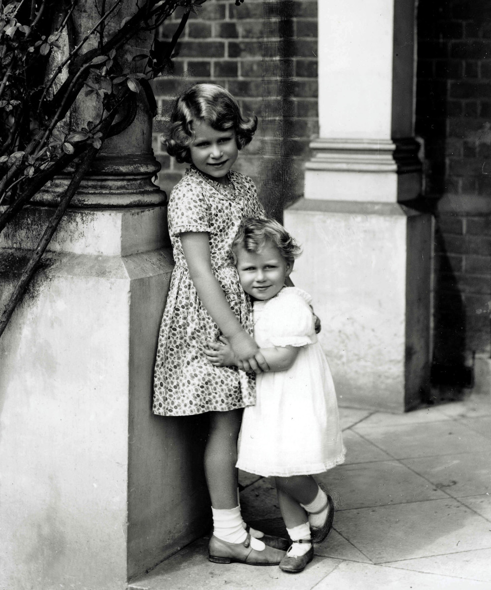 A picture of a young Princess Elizabeth, later Queen Elizabeth II, and her sister Princess Margaret