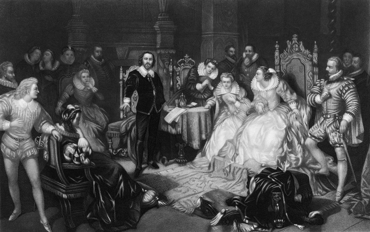 Engraving depicts Shakespeare reciting a work before the court of Elizabeth I