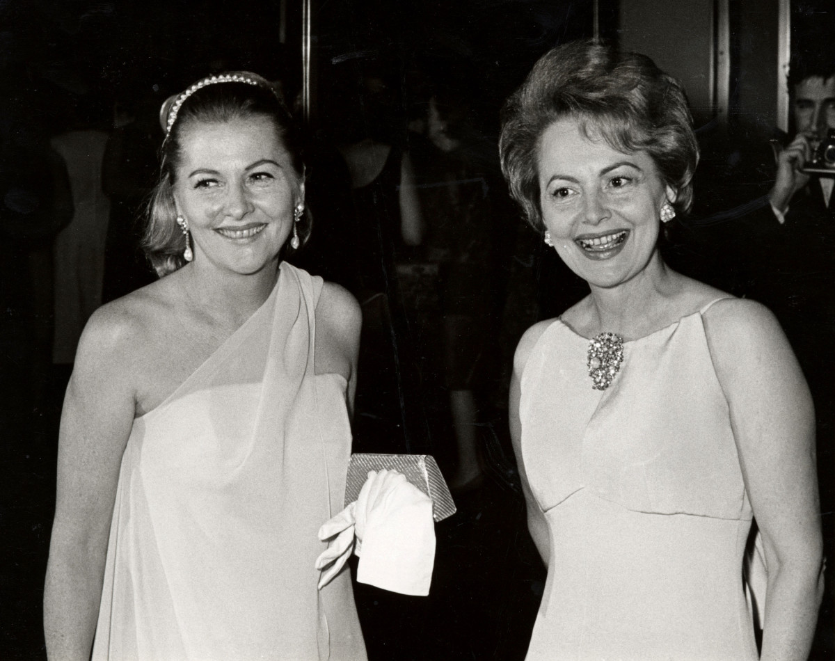 Joan Fontaine and sister Olivia de Havilland during Marlene Dietrich's Opening Party - September 9, 1967 at Rainbow Room in New York City, NY