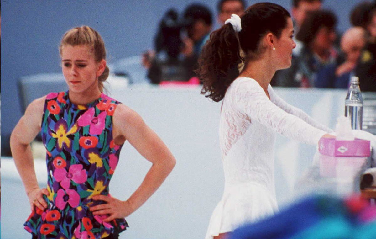Tonya Harding and Nancy Kerrigan avoid each other during a training session 17 February in Hamar, Norway, during the Winter Olympics.