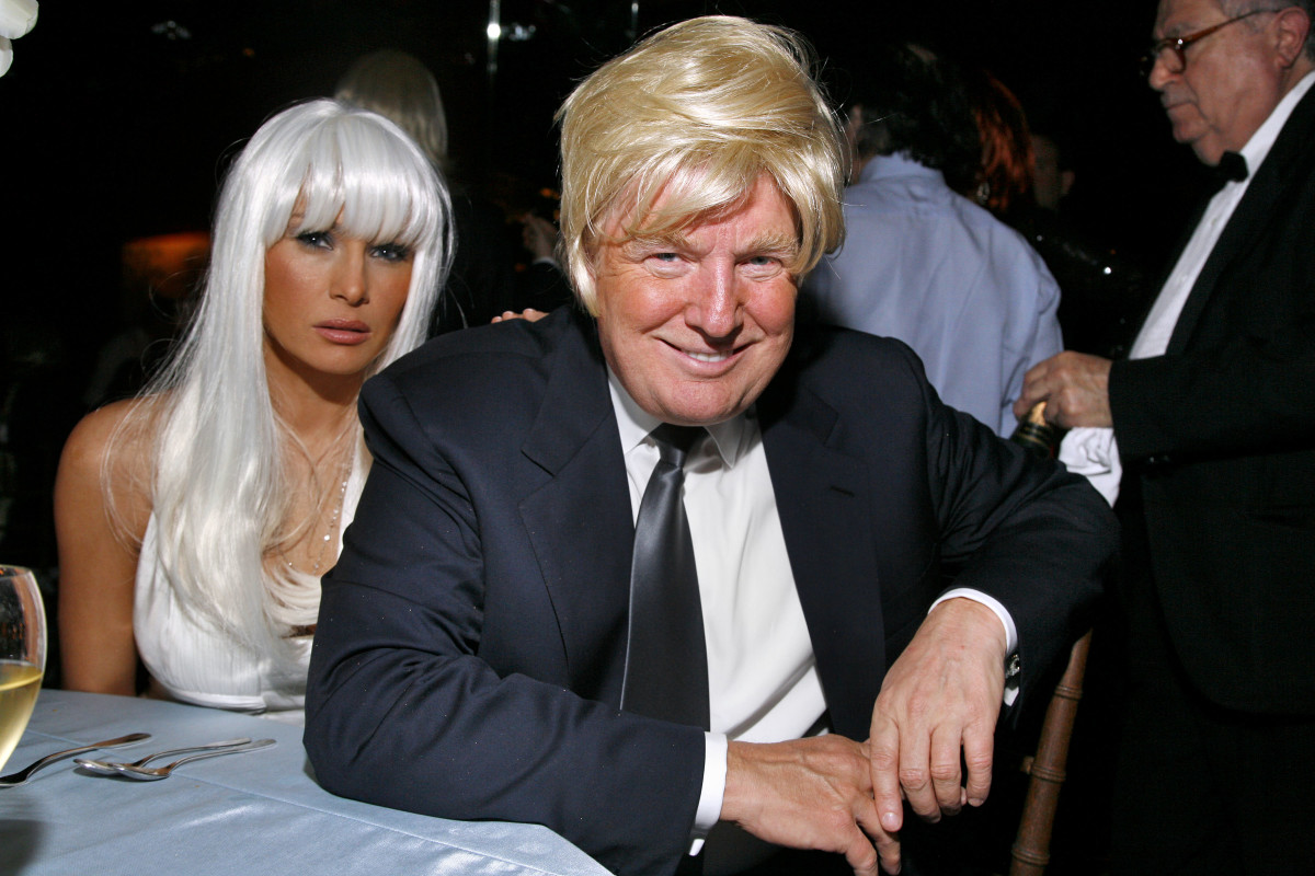 Melania Trump and Donald Trump attend WOODY JOHNSON's 'Wig Out' 60th Birthday Party at Doubles on April 12, 2007 in New York City