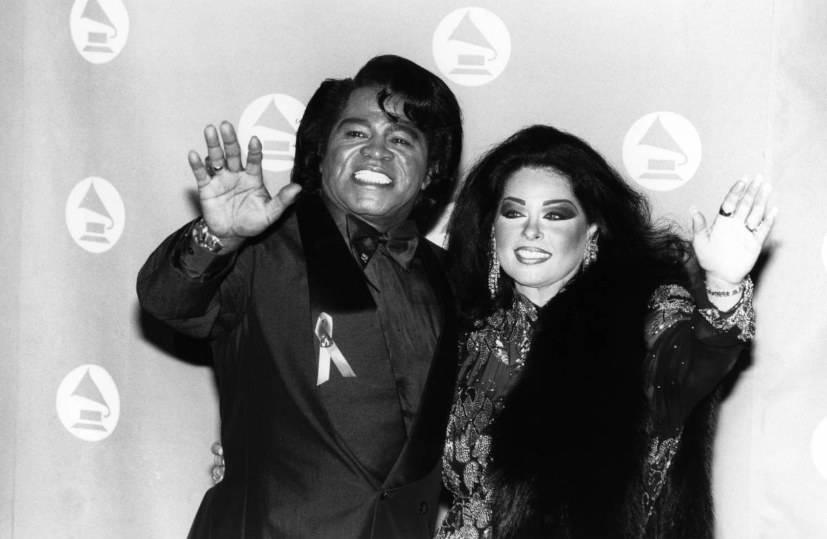 James Brown and his wife, Adrienne, in 1993