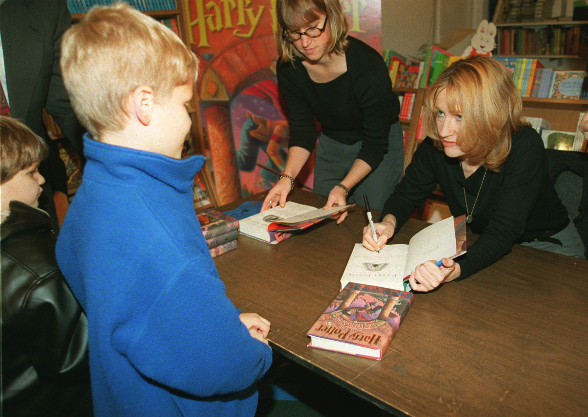 J.K. Rowling signing Harry Potter and the Sorcerer's Stone