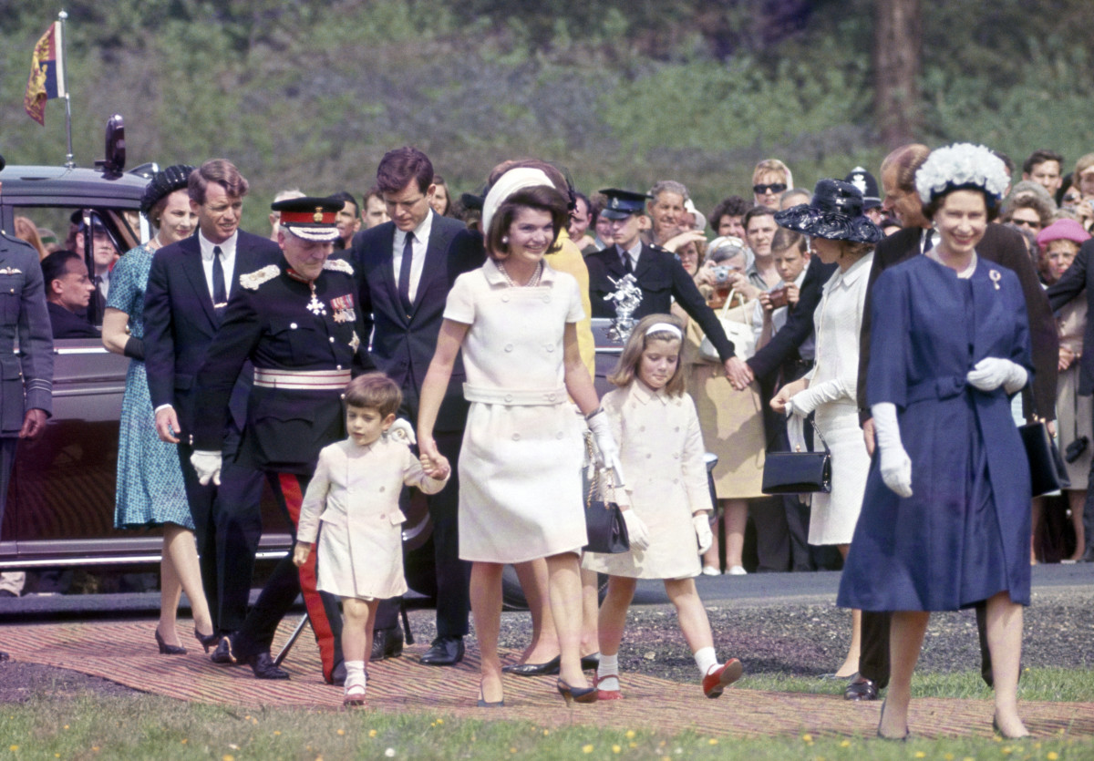 Members of the Kennedy family - Robert, Edward, John F Kennedy Junior, Jacqueline Kenendy and Caroline Kenendy with Prince Philip and Queen Elizabeth II