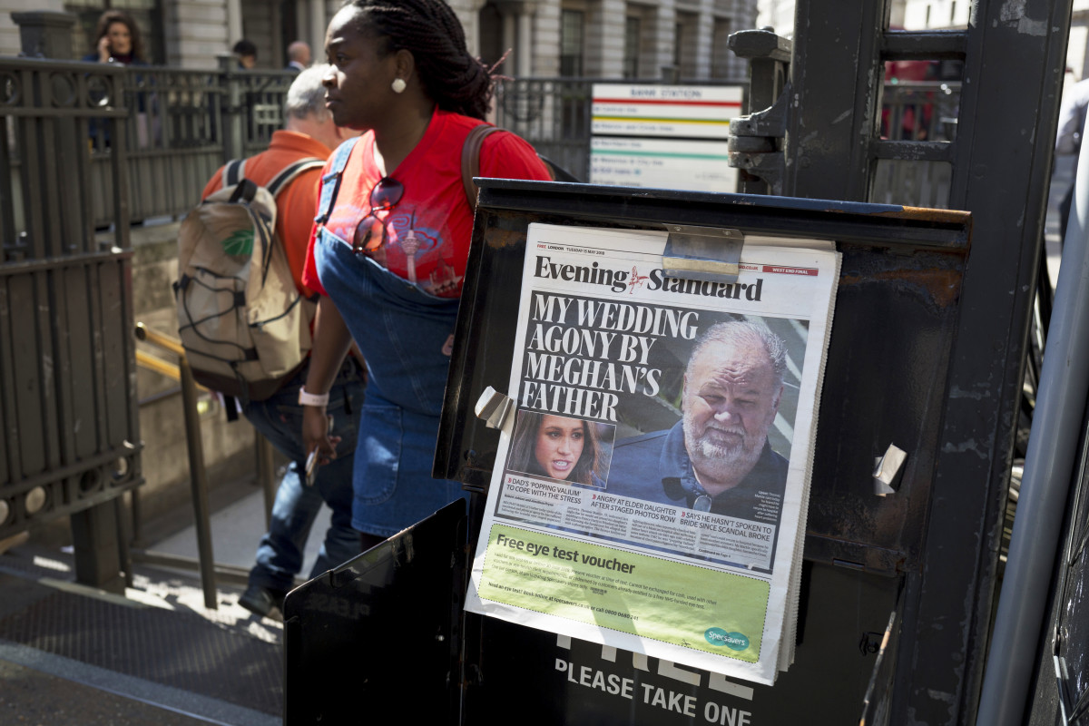 Thomas Markle on the cover of the Evening Standard
